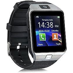 Reloj Inteligente con Cámara TF/Ranura de Tarjeta SIM, Análisis de Sueño, Podómetro, Anti-pérdida, Fitness Tracker, Alertas de Mensajes para teléfonos Inteligentes Android y iOS, Plata