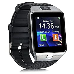 Bluetooth 3.0Smart Watch With Camera, Tfsim Card Slot Wrist Smart Watch With Pedometer Anti-loss Function For, Samsung, Htc, Lg, Sony, Huawei Smartphones Android & Ios (Partial Function) Silver
