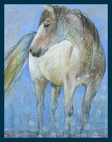 Bild mit Rahmen Loes Botman - Horse - Digitaldruck - Holz blau, 30 x 37.5cm - Premiumqualität - Natur, Pferd, Schimmel, Portrait, Tierportrait, Schlafzimmer, Treppenhaus, W.. - MADE IN GERMANY - ART-GALERIE-SHOPde