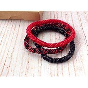 Armbänder, Rot und schwarz Gehäkelte Perlen Armband, glasperlen rolle armband