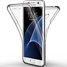 Coque Etui Galaxy S7 edge, Leathlux Silicone Gel Case Avant et Arrière Intégral Full Protection Cover Transparent TPU Housse Anti-rayures pour Samsung Galaxy S7 edge 5.5""