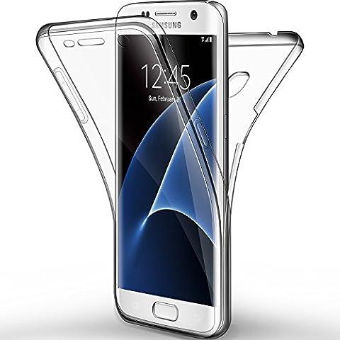 Coque Etui Galaxy S7 edge, Leathlux Silicone Gel Case Avant et Arrière Intégral Full Protection Cover Transparent TPU Housse Anti-rayures pour Samsung Galaxy S7 edge 5.5