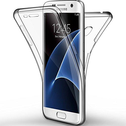 Galleria fotografica Cover Galaxy S7 edge, Leathlux Custodia Galaxy S7 edge Silicone Morbido Trasparente TPU Full Protettiva Cassa Resistente Ai Graffi Case Per Samsung Galaxy S7 edge 5.5