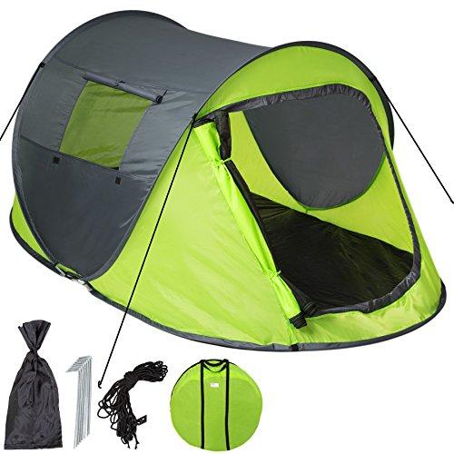 TecTake Wurfzelt Pop-up Zelt Automatikzelt für bis zu 2 Personen 1500mm Wassersäule + Tasche, Seile, Heringe grün grau