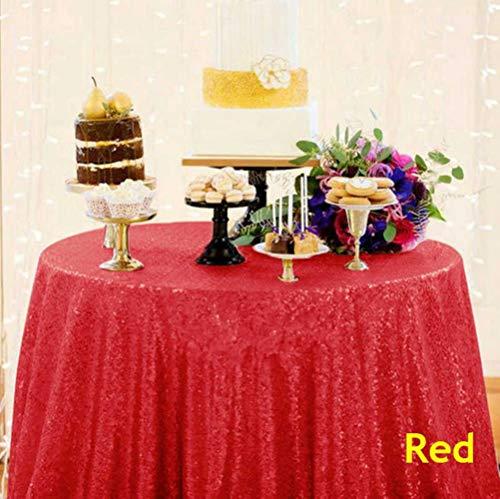 SULUO Runde Pailletten Tischdecke 132inch-330cm Pink Gold Pailletten Tischdecke für Weihnachtsfeier Hochzeitsdeko, Rot, 60x102in-150x260cm (60-zoll-runde Tischdecke Rot)