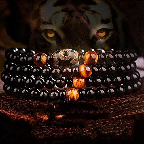 Zhiming Hand Zeichenfolge natürliche Obsidian 108 Kristall Armband männliche und Weibliche Achat Tiger Auge STEINPERLEN Hand Zeichenfolge Schmuck Halskette