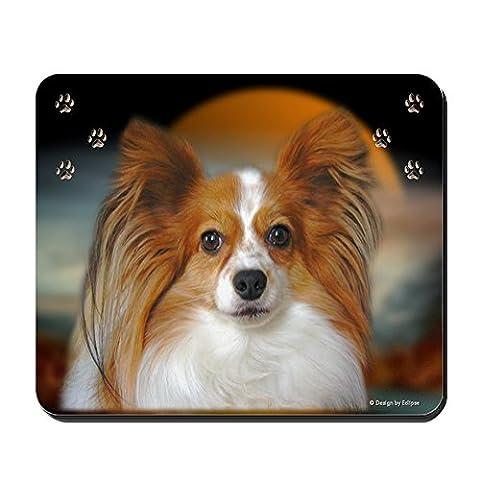 CafePress–Papillon Hund–rutschfeste Gummi Mauspad, Gaming Maus Pad
