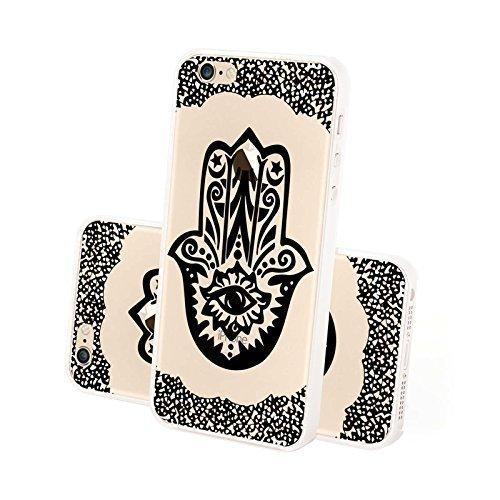 FINOO ® | Iphone 6 / 6S Hardcase Handy-Hülle | Transparente Hart-Back Cover Schale mit Motiv Muster | Tasche Case mit Ultra Slim Rundum-schutz | stoßfestes dünnes Bumper Etui | Kringel 4 Schwarz Henna Schwarz