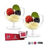 Mini vasos de postre, 24pcs/Set desechable Footed de cristal platos de postre cuencos, plástico transparente, para aperitivos cuencos