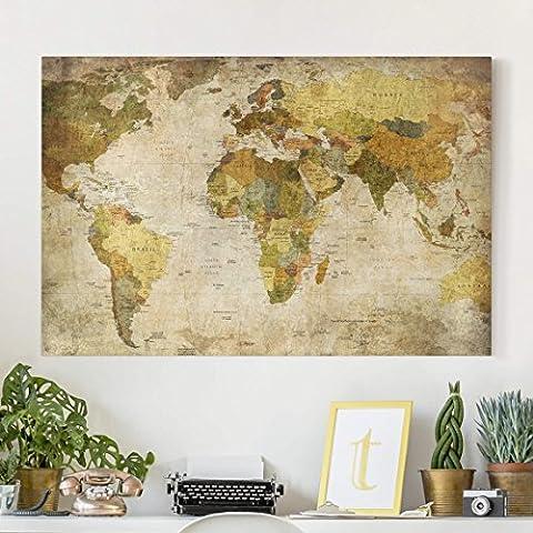Bilderwelten Leinwandbild - Weltkarte - Quer 2:3, Leinwand Bilderwelten Leinwandbild XXL Leinwanddruck Wandbild, Größe HxB: 40cm x