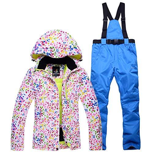 Chaqueta Esqui Mujer Pantalón Impermeable, Traje de Snowboard Abajo Cálido Impermeable Chica Tamaño Grande Sudadera con Capucha de Parka Invierno con Grueso Mono a Prueba de Viento 2PCS