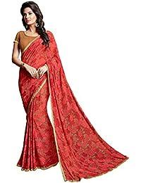 Lords Red Georgette Printed Designer saree