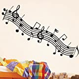 Bestofferbuy - Music Musical Notes Treble Stave Removable Wall Sticker Decal