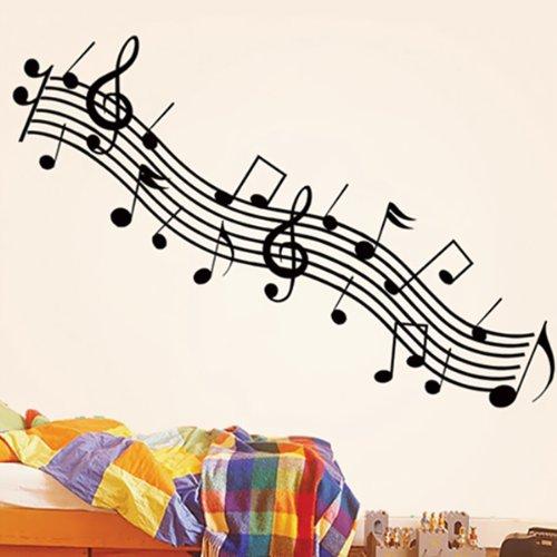 BestOfferBuy-Adesivo-per-parete-rimovibile-motivo-Pentagramma-e-note-musicali