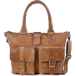 Masquenada - Bolso cruzados de cuero para mujer marrón marrón
