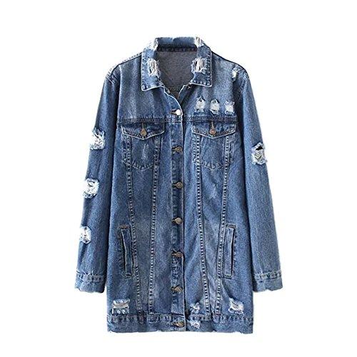 iBaste Jeansjacke Damen Denim Jacket mit Patches Knopfverschluss Loose Jeans Mantel Beiläufige Outwear-A-S