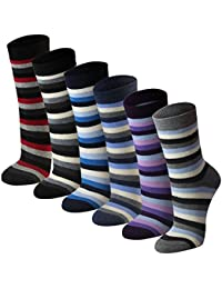 Lavazio® 6 Paar warme und kuschlige Damen Thermosocken mit Streifen in 6 Farben