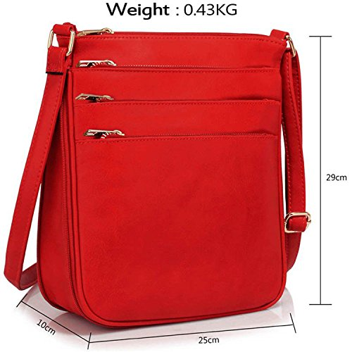 xardi London Roomy cerniera donne croce corpo borse in finta pelle Donna Satchel spalla borse Red