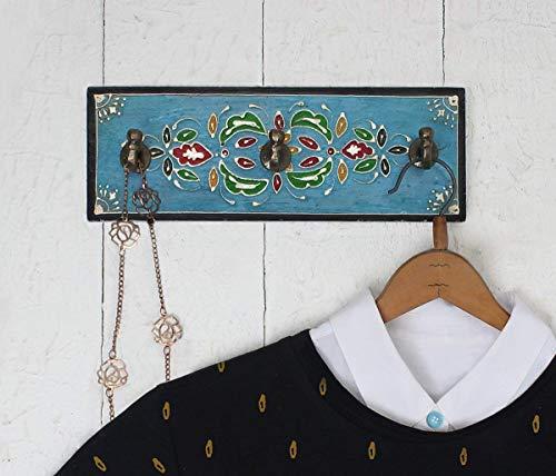 Handgefertigter Wandhaken aus Holz mit 3 Klammern Schöner Wall Hooks Wandauf hänger mit Blumen Muster auf Druck für Mantel schals Aufhänger Zuhause und Büro geschenken entworfen