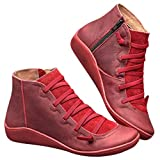 Fanngfuny Kunstleder Kurze Stiefel Damen Stiefel Stiefelette Wild Side ReißVerschluss Schnürstiefel Sneaker Frauen Cas