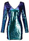 Pretty Attitude Elegantes Glitzerndes Damen Langarm Kleid mit Blauen und grünen Pailetten – Gr. M