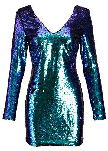 Elegantes glitzerndes Damen Langarm Kleid mit blauen und grünen Pailletten Blau