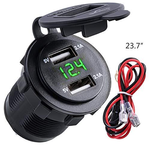Nosii 4.2A Dual USB 2.1A & 2.1A Ladegerät Buchse Wasserdichte Steckdose W/LED Voltmeter & Draht Inline 10A Sicherung für 12-24 V Auto Boot Marine Motorrad (Color : Green Digit) Rv Marine Batterien