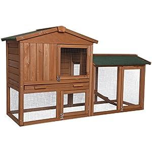 [Gesponsert]dibea RH10240 Premium Kleintier Stall (147 x 52 x 85 cm), geräumige 2-Etagen Holzhütte, Gehege mit 3 Türen für Kaninchen Hasen Meerschweinchen