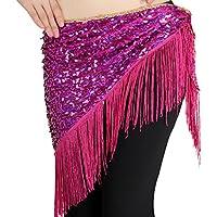 hougood triángulo de danza del vientre cadera bufanda falda cinturón de mujer hecho a mano nacional de danza disfraz accesorios lentejuelas borlas cadena de cintura, mujer, Rosepink