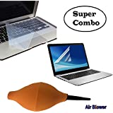 3 In1 Combo Pack Laptop Screen Guard 15.6 inch , Keyboard Protector Skin For Laptop 15.6 And Rubber Air Pump Cleaner Dust Blower for Keyboard,Digital SLR Camera, Lens, Watch, Cell Phone, Computer Laptop PC and Screen