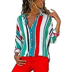 Aranmei Blusa Mujer Chiffon Camisa De Manga Larga Elegante Colorido a Rayas Cuello V Camisas