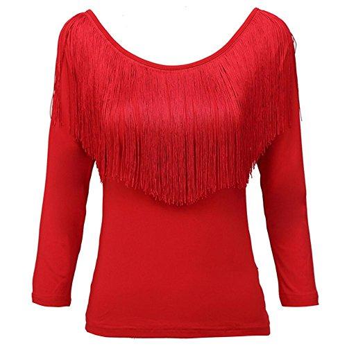 Wgwioo Gesäumten Ärmeln Sieben Weibliche Lateinische Erwachsenen Square-Dance Kleid , Big Red , M