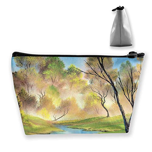 Makeup Bag Cosmetic Tree Watercolor Lack Portable Cosmetic Bag Mobile Trapezoidal Storage Bag Travel Bags with Zipper Plum Handy