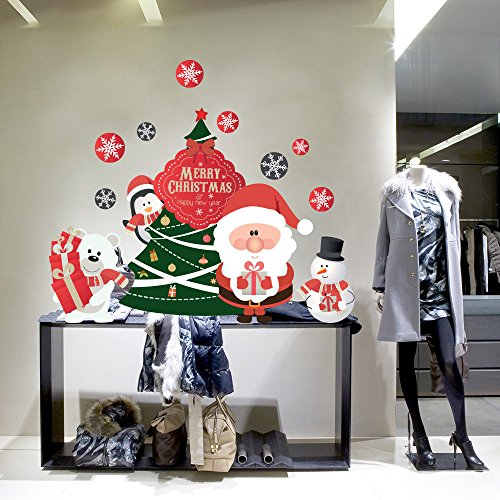 RN00049 Adesivi Murali - Merry Christmas tree - Vetrofanie natalizie - Misure 60x73 cm - Decorazioni vetrine per Natale, stickers, adesivi