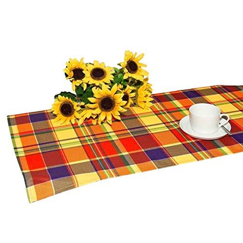 her Lotus-Effekt-Tischläufer 40 x 90 cm, gelb-rot-blau kariert, mit Fleckschutz - die perfekte Tischdecke für drinnen und draußen - geeignet für Haus, Terrasse, Balkon und Garten - es sind auch größere Tischdecken und Tischläufer im gleichen Design erhältlich ()