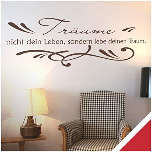 Exklusivpro Wandtattoo Spruch Wand-Worte Träume nicht dein Leben, sondern lebe deinen Traum. inkl. Rakel (zit01 rot) 180 x 55 cm mit Farb- u. Größenauswahl