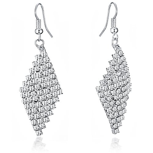 Gemini Ohrhänger (Silber), attraktive Glitzer & Strass Elemente, Rhombusform, sehr leicht, für jeden Anlass, beliebt bei Girls & Damen, 6,0 cm Länge