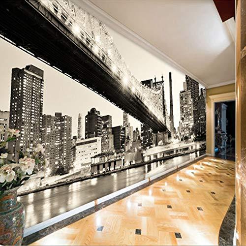 nutzerdefinierte Fototapete New York Schwarz Weiß Blick auf die Stadt Brücke Wohnzimmer Arbeitszimmer Wanddekoration Vliestapete 200x140CM ()
