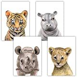 Frechdax 4er-Set Bilder Kinderzimmer Deko Junge Mädchen - DIN A4 Poster Tiere - Wandbilder - Porträt   Waldtiere Safari Afrika Tiere Porträt (4er Set Tiger, Löwe, Nashorn, Nilpferd)