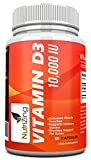 ★ NutriZing Vitamin D3 10,000 IU supplement ~ High Strength ~ Strengthen Bones & Teeth ~ Promote Heart Health ~ Works Best to Enhance Muscle Function ~ For Women & Men ~ Made in the UK ~ Premium Source of Vitamin D ~ Suitable for Vegetarians ~ Vitamin D310000 iu capsules ~ Relief from Osteoporosis, Joint Ache, Arthritis ~ For Backpain & Kneepain ~ Feel More Energetic ~ Regulates Levels of Calcium ~ Improve Immune System