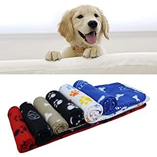 AK KYC 6 pack Mixed Puppy Blanket Cushion Dog Cat Fleece Blankets Pet Sleep Mat Pad Bed Cover with Paw Print Kitten Soft… 9