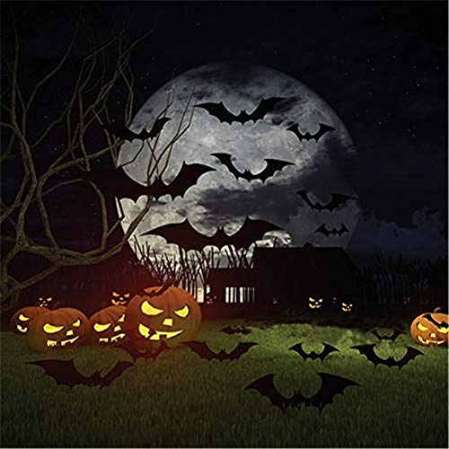 Halloween 3D Schwarze FledermäuseWandaufkleber,12 Stück Dekoration Wandtattoo DIY Party Home Deko Dreidimensionale Wandaufkleber