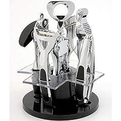 Idea Regalo - Lusso in acciaio INOX, 6pezzi da cucina gadget set-gadget set-vino/apribottiglie, pelapatate, apriscatole, schiaccianoci, Spremiaglio