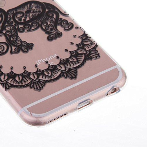 iPhone 6S Hülle,iPhone 6 Case - Felfy Ultra Slim Weicher Gel Flexible TPU Transparent Case Schutzhülle Silikon Ultradünne Hülle Retro Farbe Blumen-Totems Tupfen Gitter Muster Schutz Scratch-Resistant  Elefant