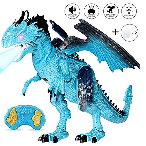 ZMH RC Walking Electric Dinosaurier Spielzeug, Simulation Jurassic EIS/Feuer Dinosaurier mit Raucheffekt/Walking/Sounds, Lichter/Bewegung, Kinder Drachen Spielzeug Geschenke,Blue