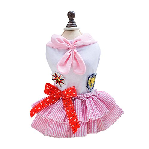 sourcingmap® Sommer Haustier Hund Seemann Rock Tutu Kleid Welpen Kleidung Kostüme rosa (Seemann Kostüme Rosa)