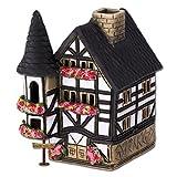 Luce casa tralicci bianco casetta originale Fit4Style, illuminata, ceramica, lavorata a mano, decorazione, spargi-incenso DKH07W