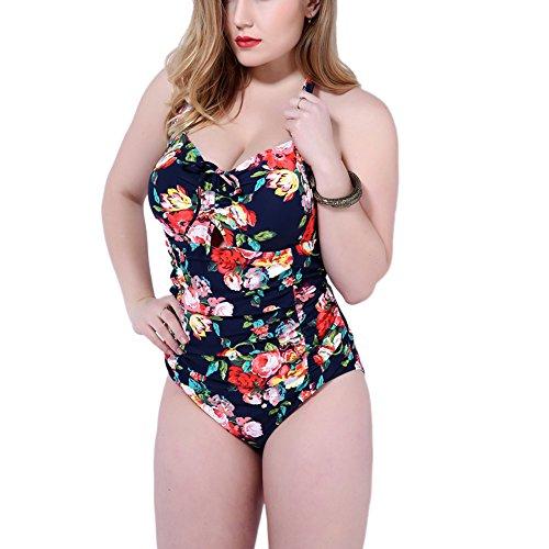 MRSMR Damen Badeanzug Tankini Schwimmanzug Badebekleidung Badekleidung Blumen Falten Große Größe Blau