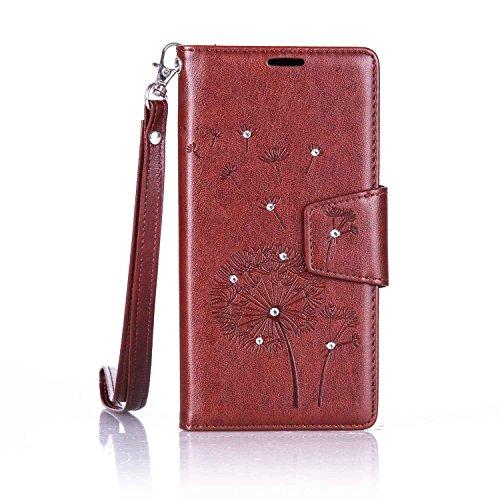 S7Edge Glitzer Spiegel TPU Fall [mit 1Stylus Pen]–Newstars Fashion Schöne Luxus 3D Handgefertigt Diamant Glitzer Bling Soft Shiny Sparkling mit Glas Spiegel Backplate Schutzhülle für Samsung Galax F5- Brown Glitter Dandelion