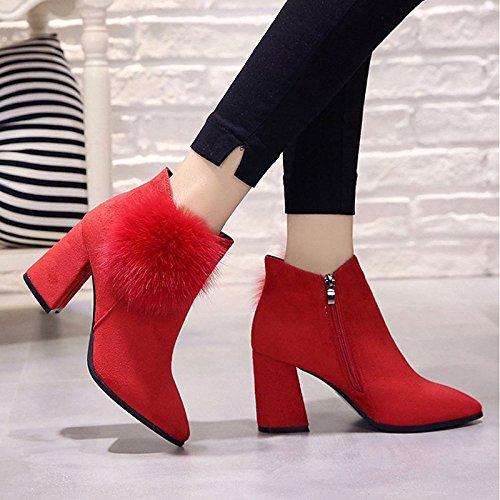 HSXZ Scarpe donna pu inverno Comfort stivali tacco alto punta tonda Mid-Calf scarponi per Outdoor Rosso Nero Red